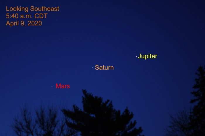 April 9, 2020:  The three bright planets are equally spaced