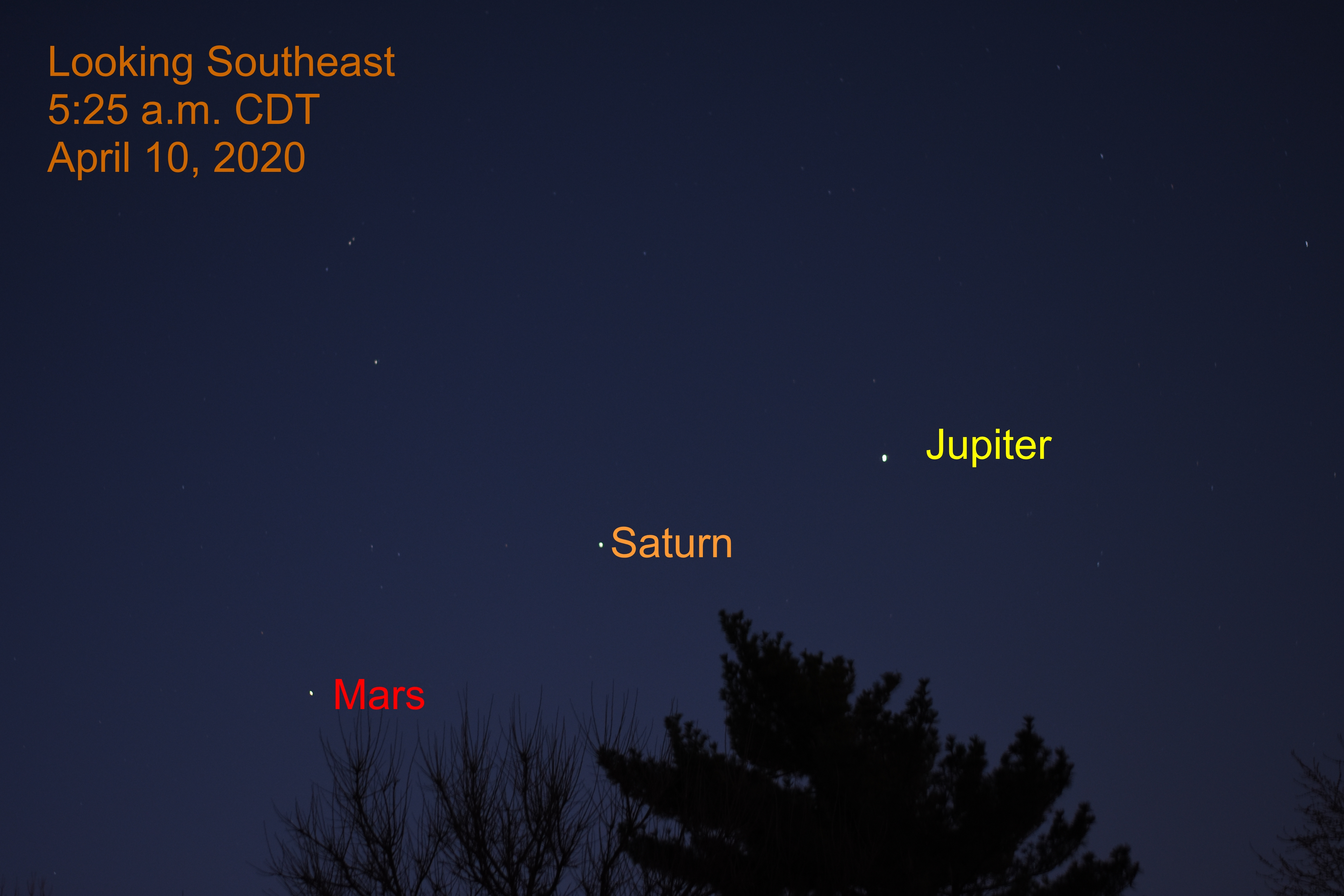 Jupiter, Saturn, and Mars, APril 10, 2020