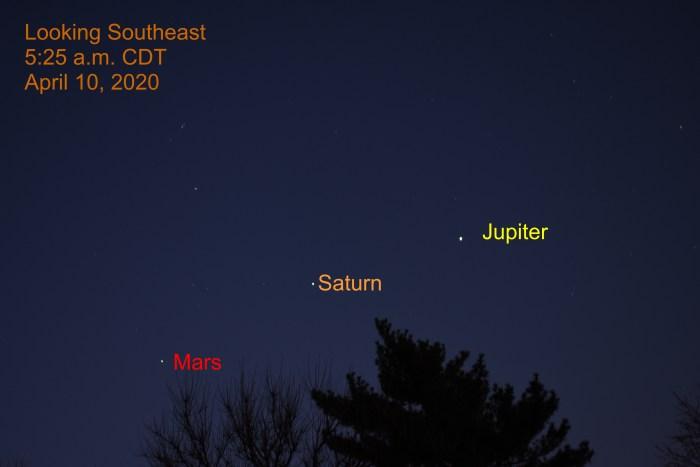 Jupiter, Saturn, and Mars, APril 10, 2020