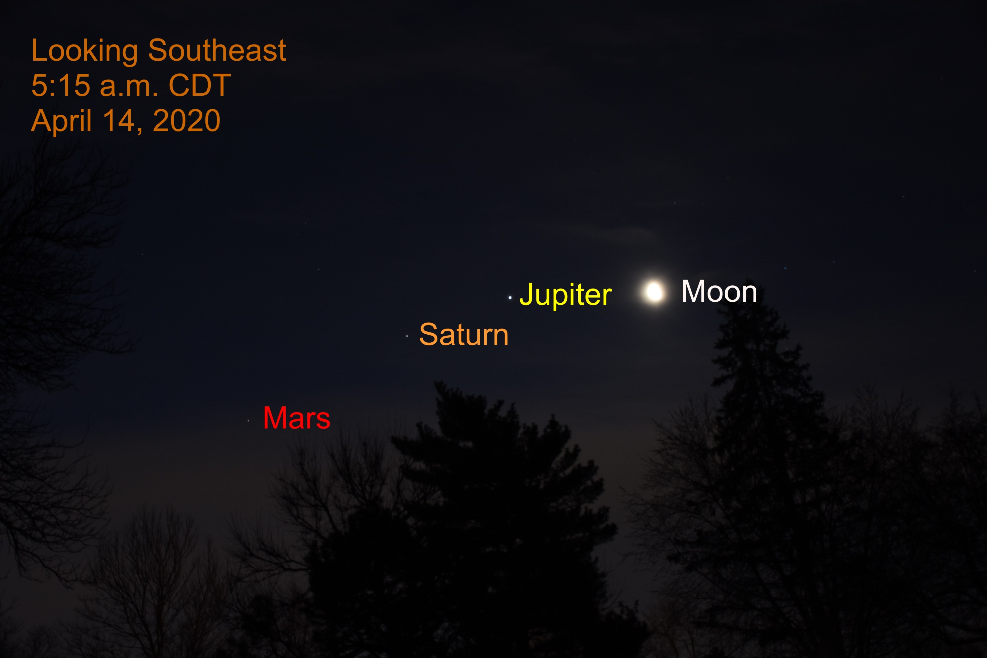Moon Joins Morning Planets, April 14, 2020
