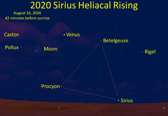The first appearance of Sirius low in the east-southeast during mid-August 2020.