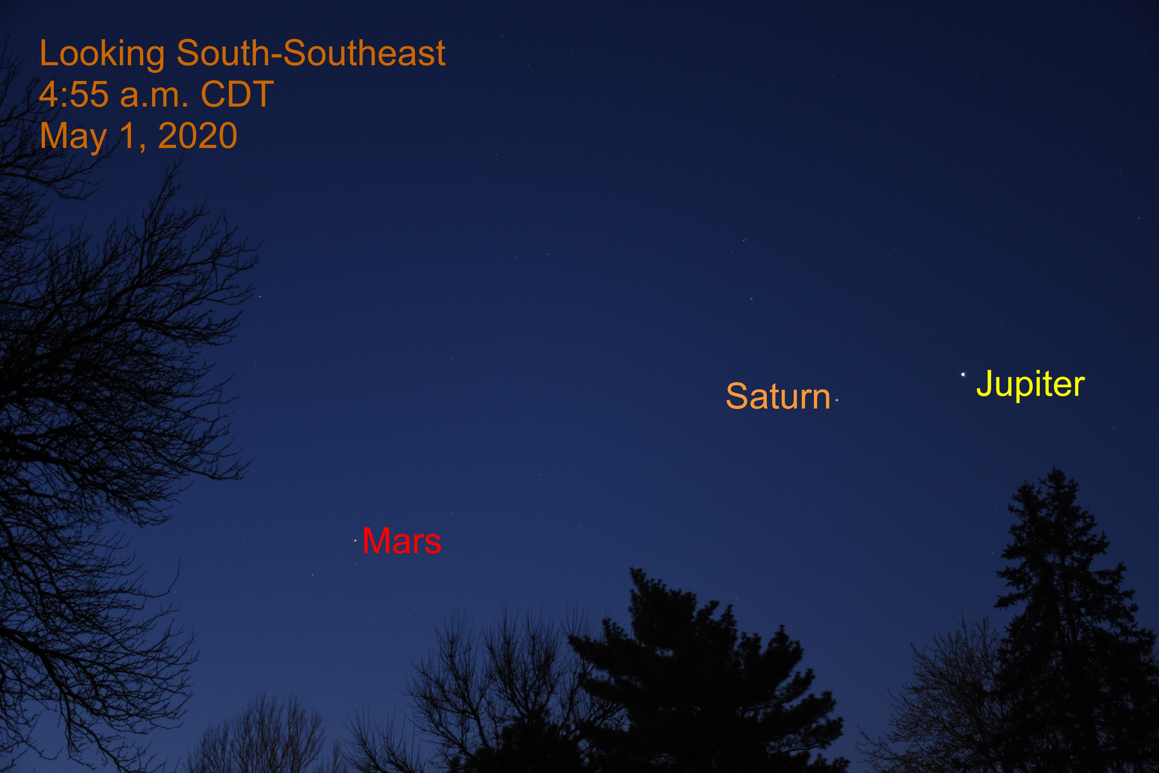 Morning Planets Jupiter, Saturn, and Mars, My 1, 2020