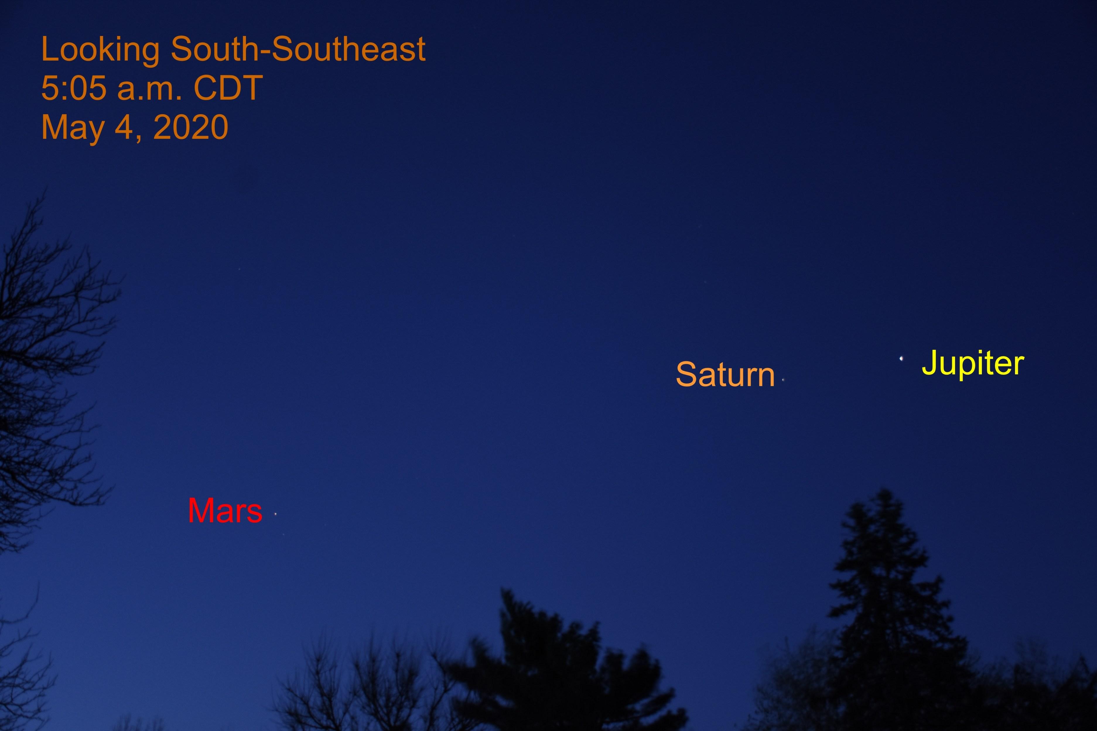 Jupiter, Saturn, and Mars, May 4, 2020