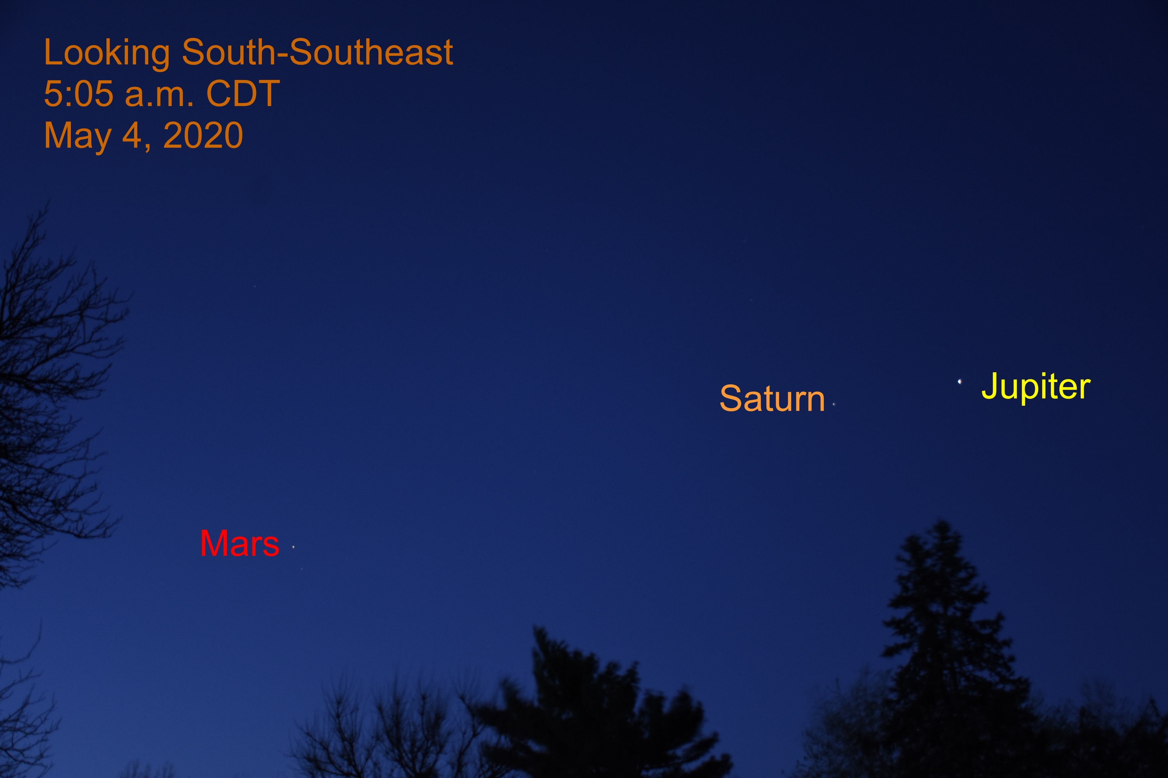 Jupiter, Saturn, and Mars, May 4, 2020