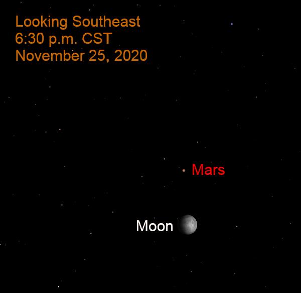 Mars and the moon, November 25, 2020