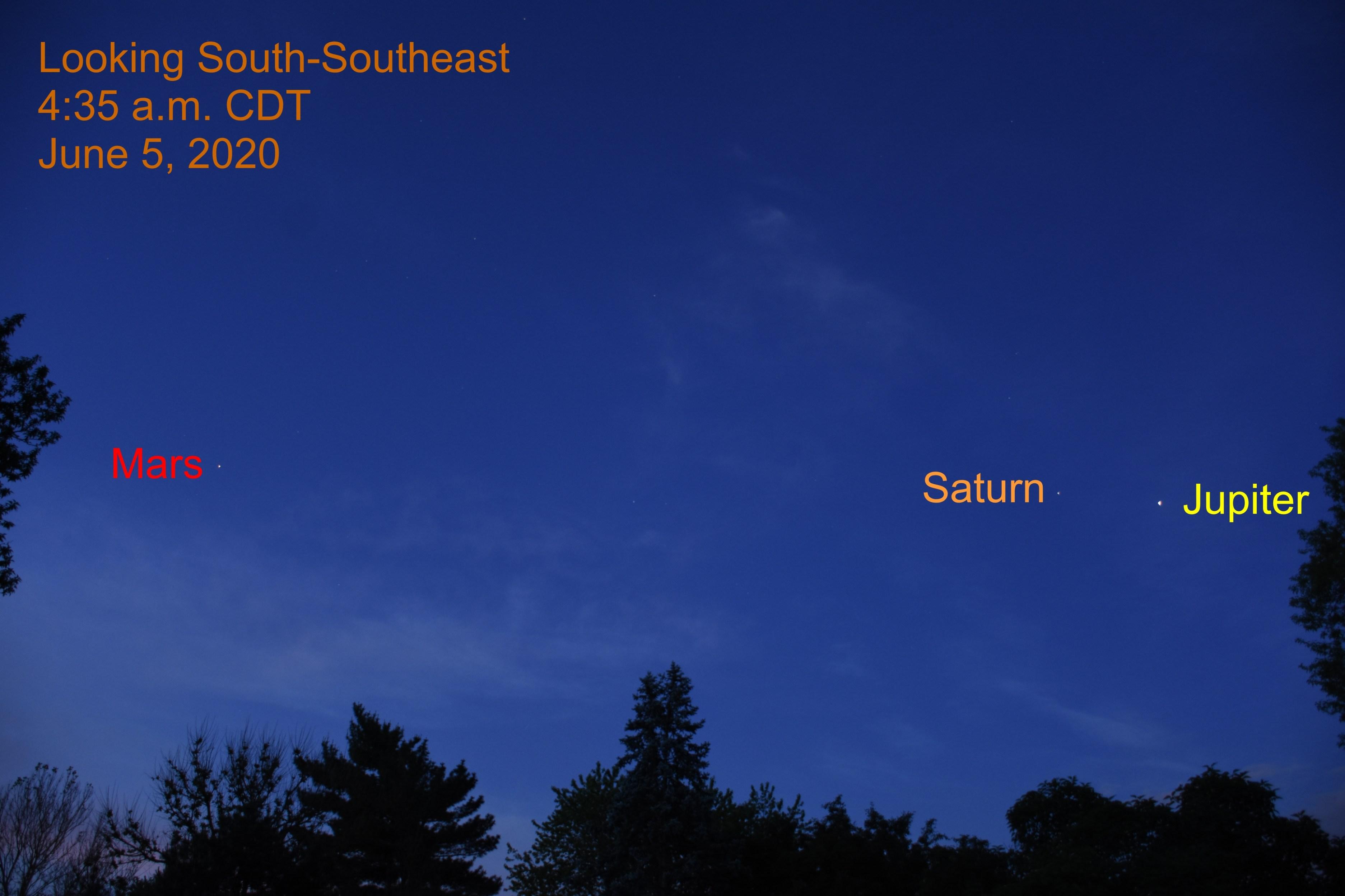 Jupiter, Saturn, and Mars, June 5, 2020