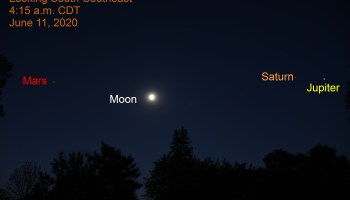 Jupiter, Saturn, Mars and the gibbous moon, June 11, 2020