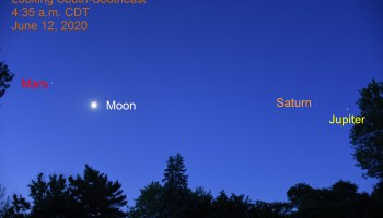 Mars, Moon, Saturn, and Jupiter, June 12, 2020