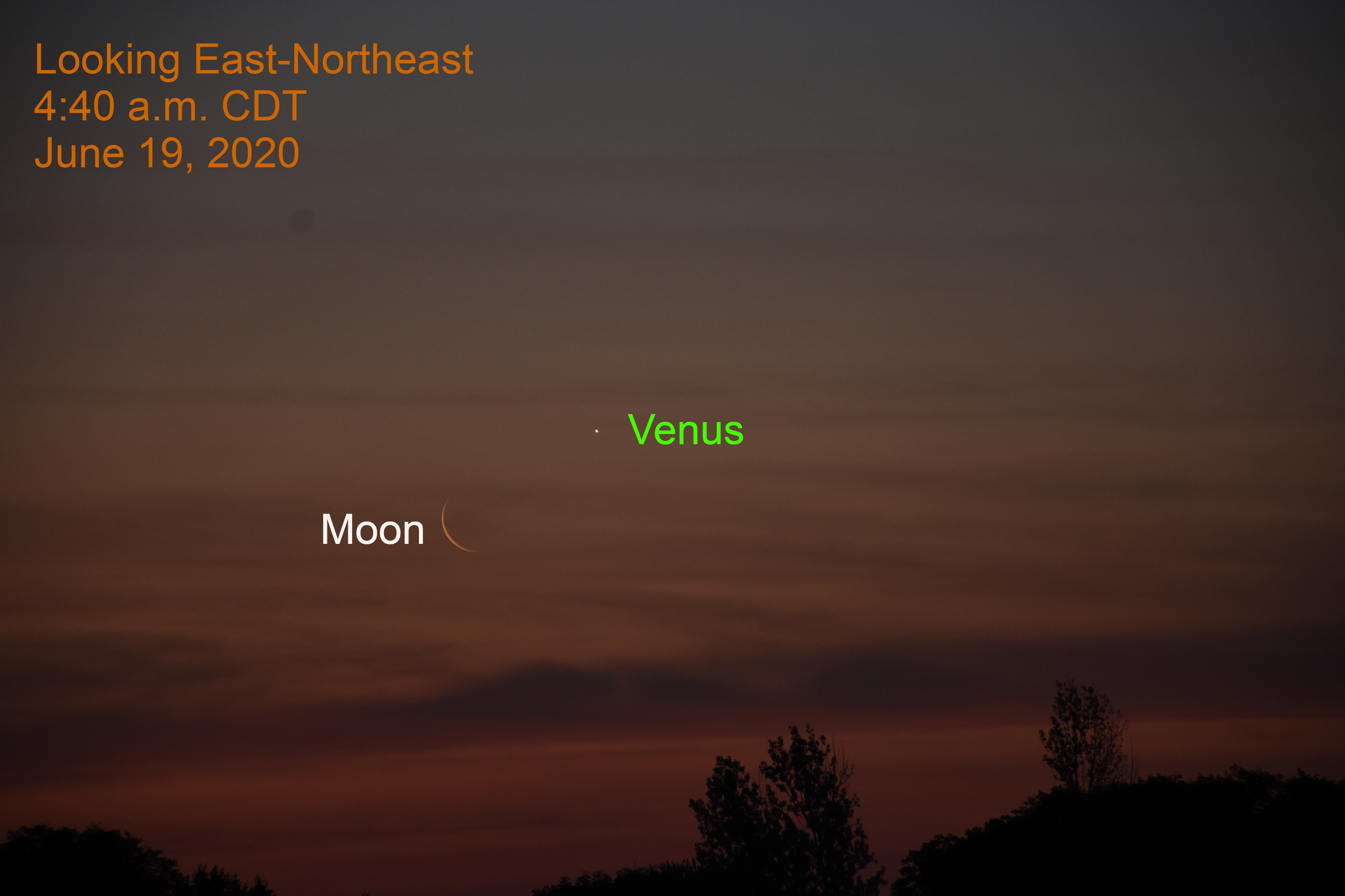 Venus and the crescent moon, June 19, 2020