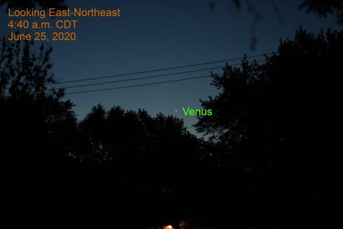 Venus in east-northeast, June 25, 2020