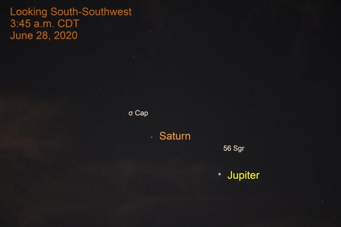 Jupiter and Saturn, June 28, 2020.