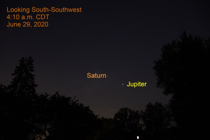 Jupiter and Saturn in the south-southwest, June 29, 2020