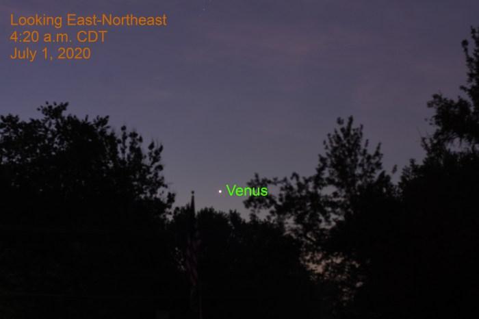 Venus in the east-northeast, July 1, 2020