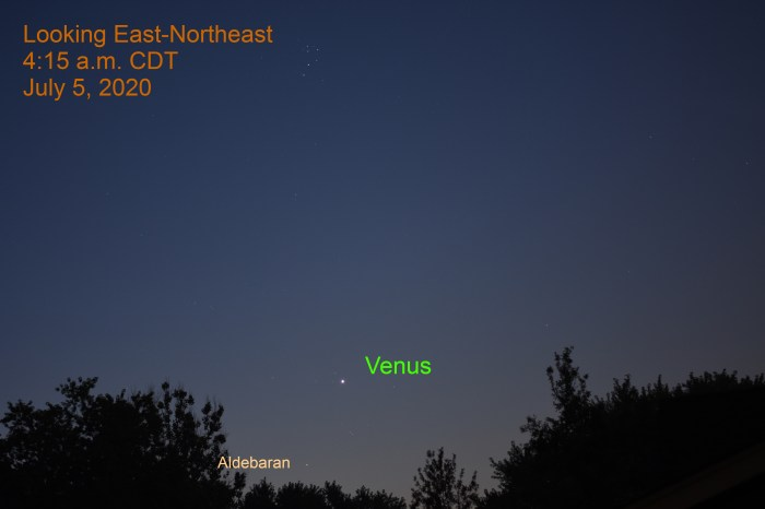 Venus in east-northeast, July 5, 2020.