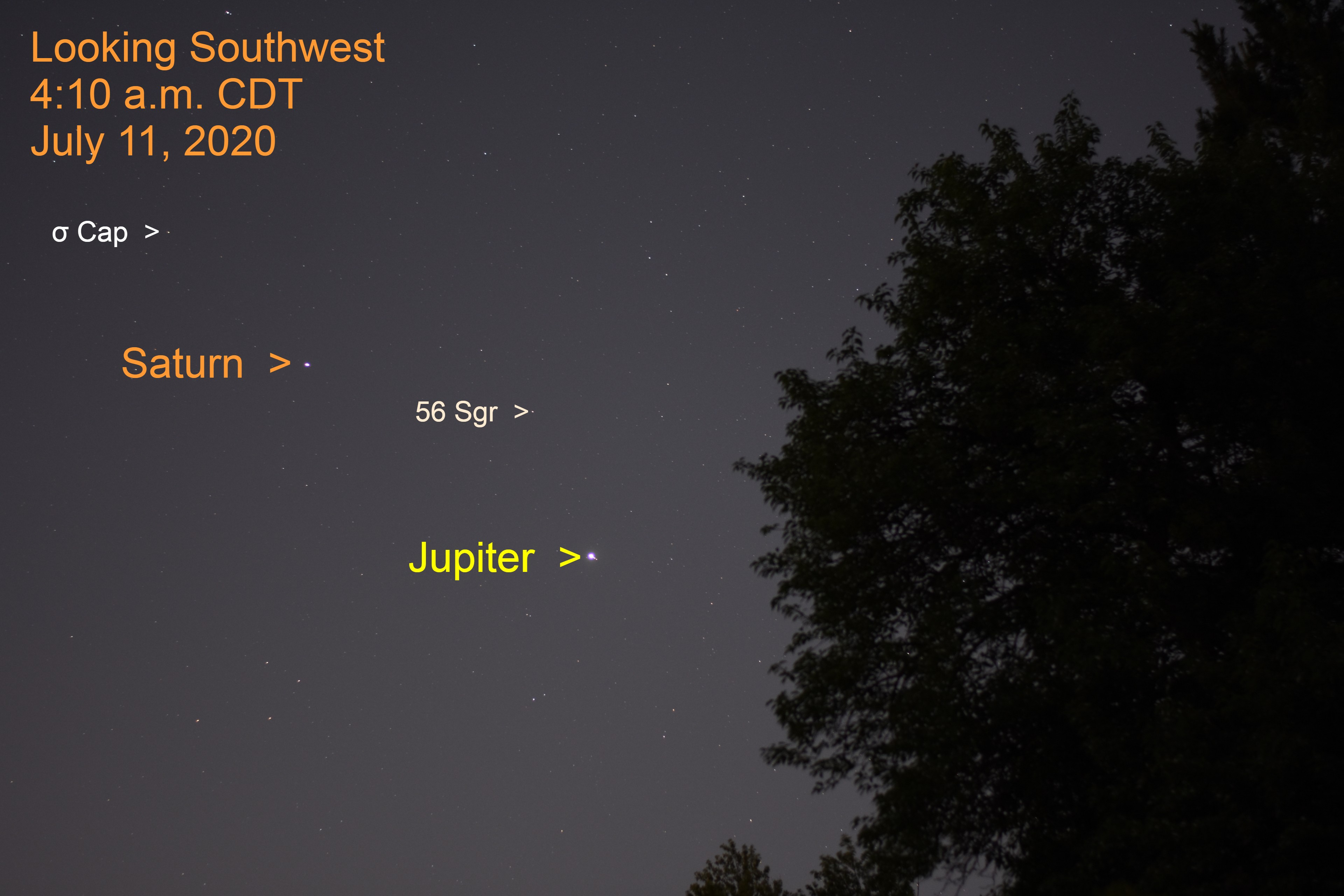 Jupiter and Saturn in Sagittarius, July 11, 2020