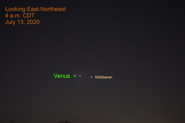 Venus and Aldebaran, July 13, 2020