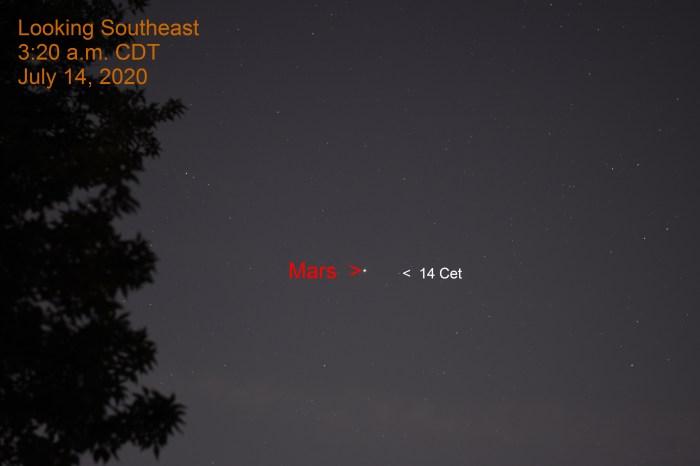 Mars is Cetus, July 14, 2020.