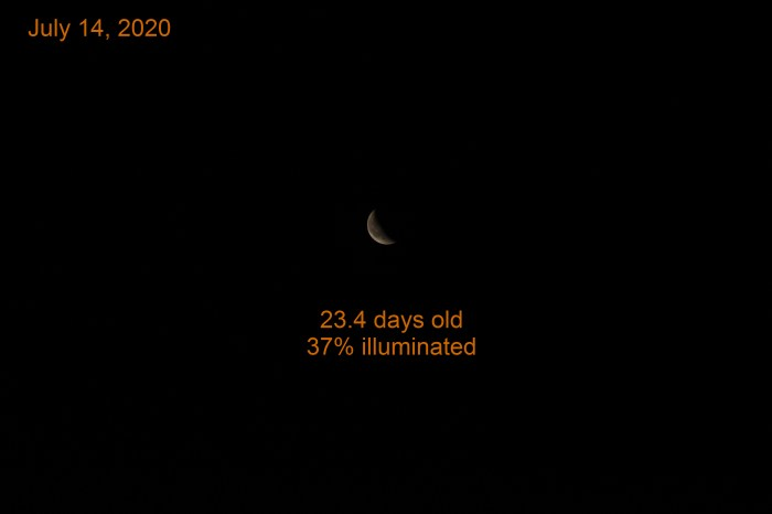The waning crescent moon, July 14, 2020.