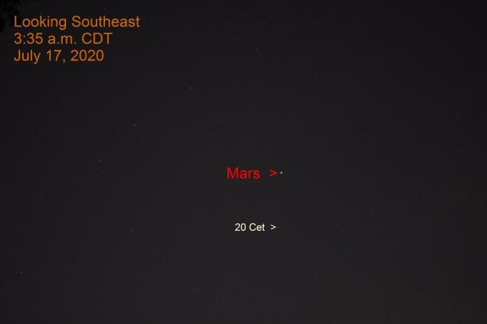 Mars in Cetus, July 17, 2020.