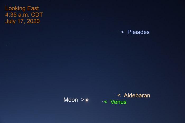 The crescent moon, Venus, Aldebaran and the Pleiades, July 17, 2020.