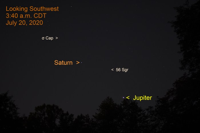 Jupiter and Saturn in the southwest, July 20, 2020