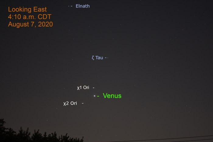 Venus in Orion, August 7, 2020