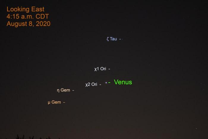 Venus in Orion, August 8, 2020