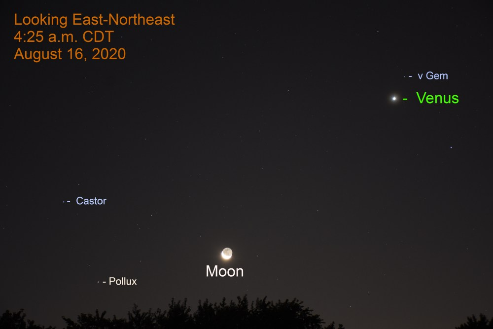Venus and moon during morning twilight, August 16, 2020.