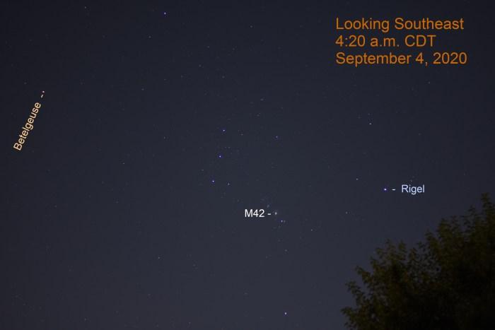 Orion Rising, September 4, 2020
