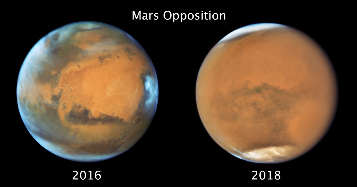 Mars at opposition, 2016 and 2018