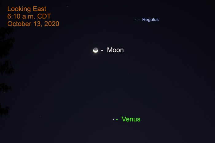Moon and Venus, October 13, 2020