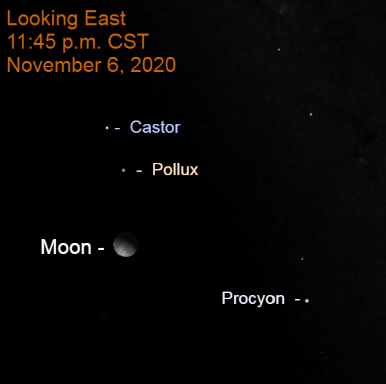 Moon and Pollux, November 6, 2020, before midnight.