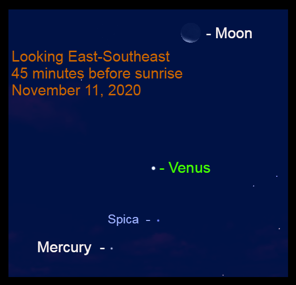 Venus, Mercury, Moon, and Spica, November 11, 2020.