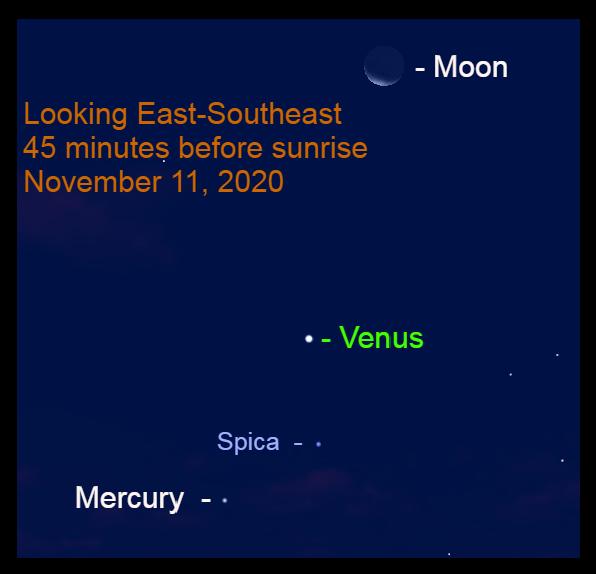 Venus, Mercury, Moon, and Spica, November 11, 2020.
