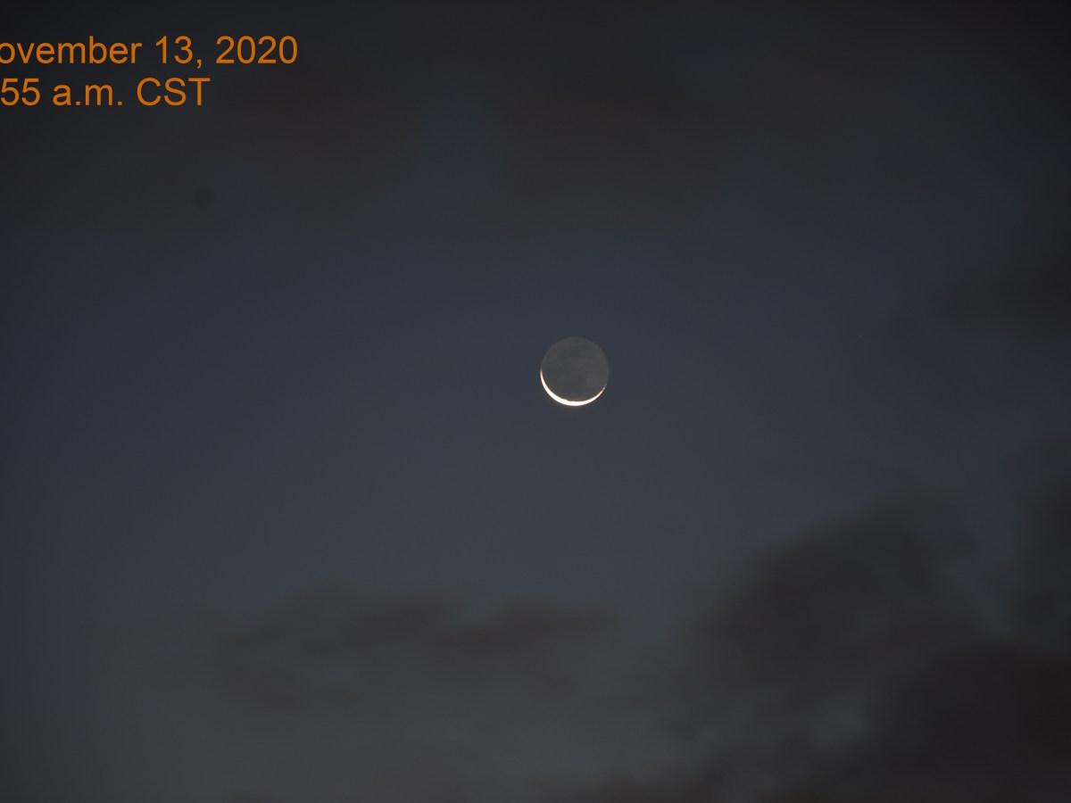 Crescent Moon in east before sunrise, November 13, 2020