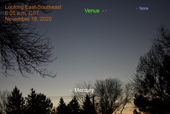 Venus and Mercury, November 18, 2020