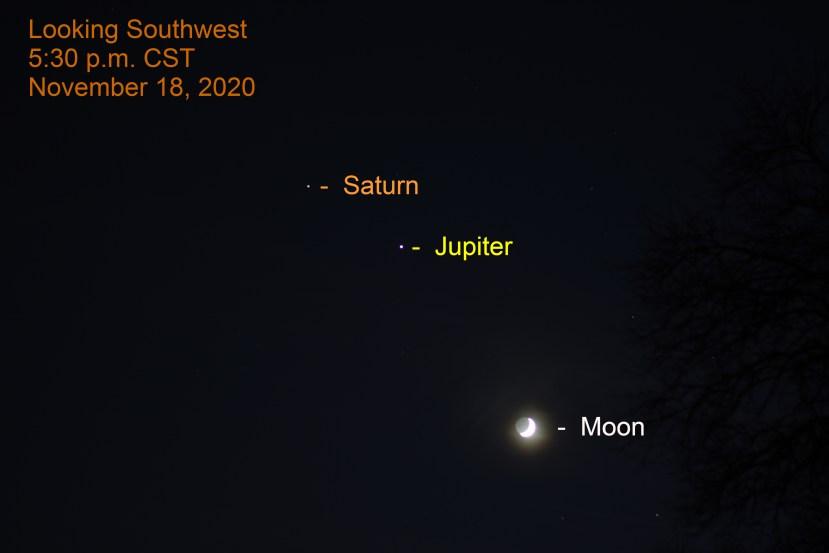 Jupiter, Saturn and the moon, November 18, 2020