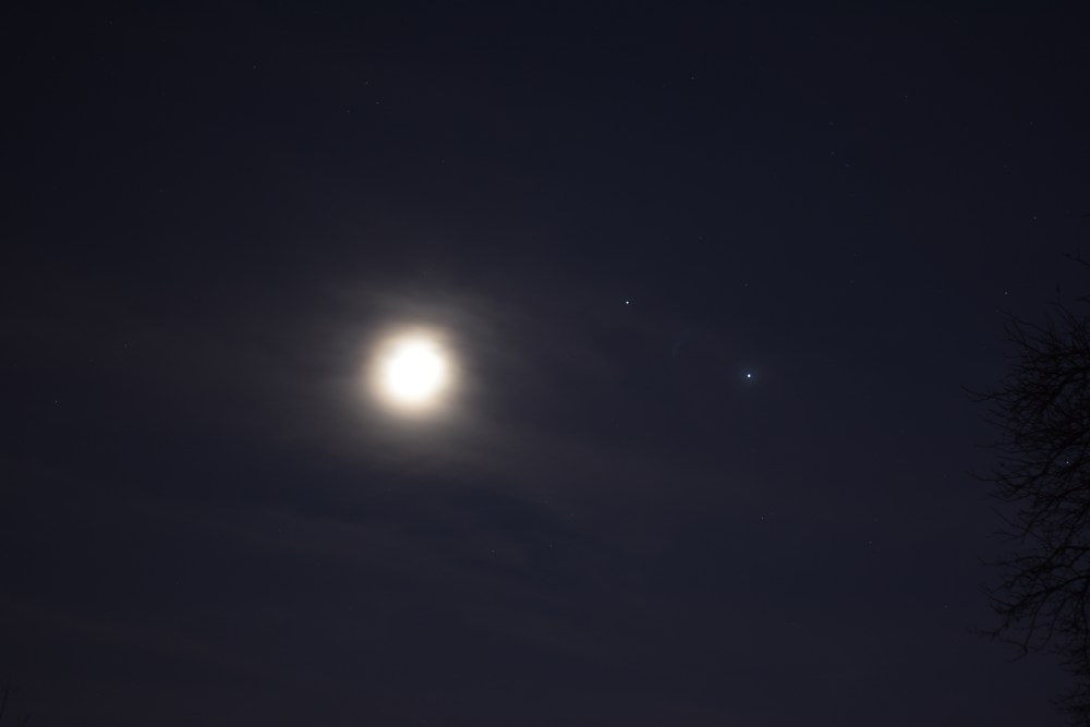 Jupiter, Saturn, Moon, November 19, 2020
