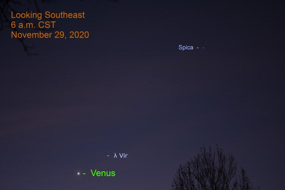 Venus and Spica, November 29, 2020