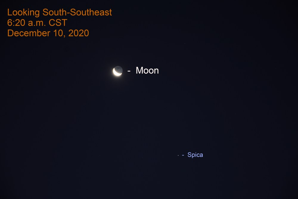 Moon and Spica, December 10, 2020