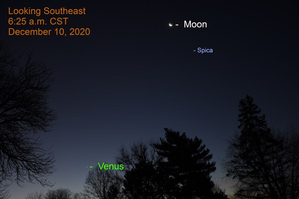 Venus, Moon and Spica, December 10, 2020