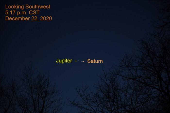 Jupiter and Saturn, December 22, 2020. Great Conjunction. Planets align.