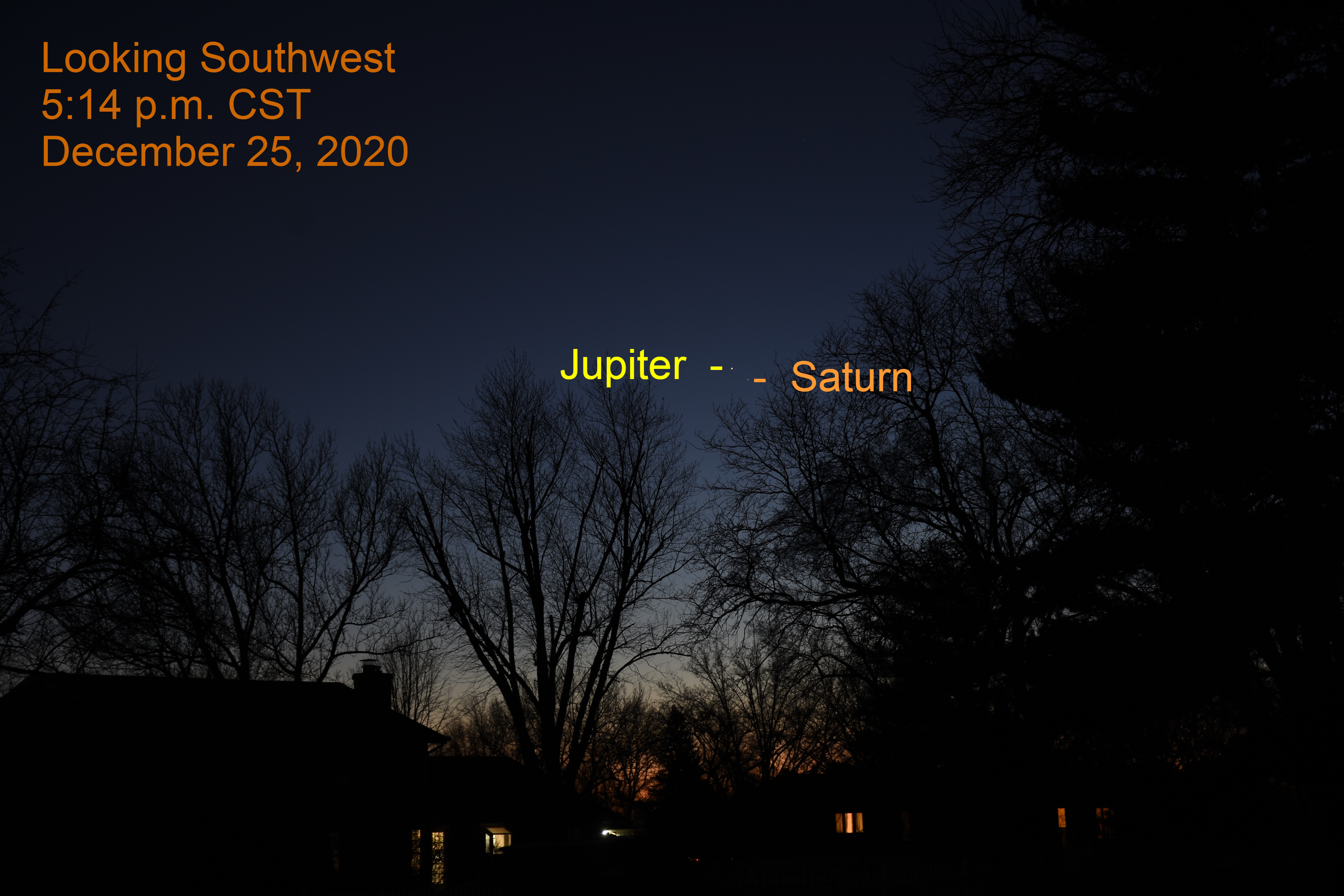 Jupiter and Saturn, December 25, 2020. Great Conjunction. Jupiter and Saturn separate in southwestern sky.