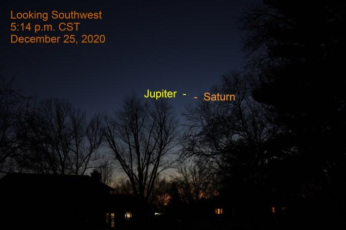 Jupiter and Saturn, December 25, 2020. Great Conjunction. Jupiter and Saturn separate in southwestern sky.