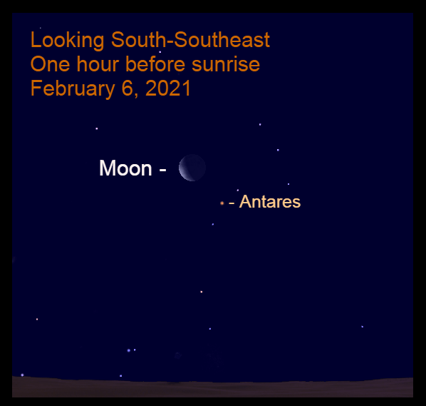 Moon and Antares, February 6, 2021