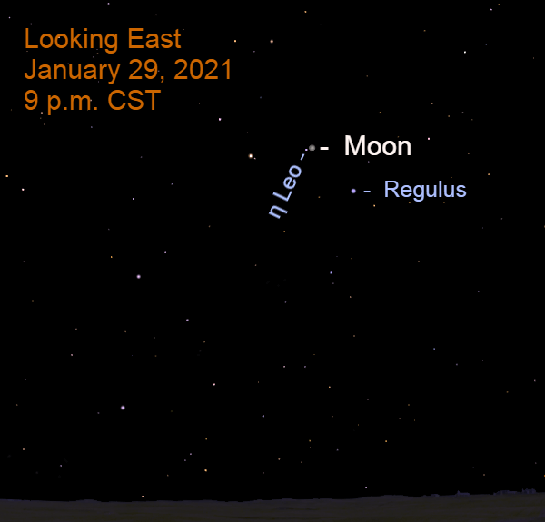 January 29, 2021: The moon occults the star Eta Leonis as seen from the Southern U.S., Mexico, Central America, and norhthern South America.