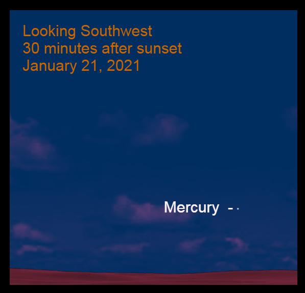 Mercury after sunset, January 21, 2021.