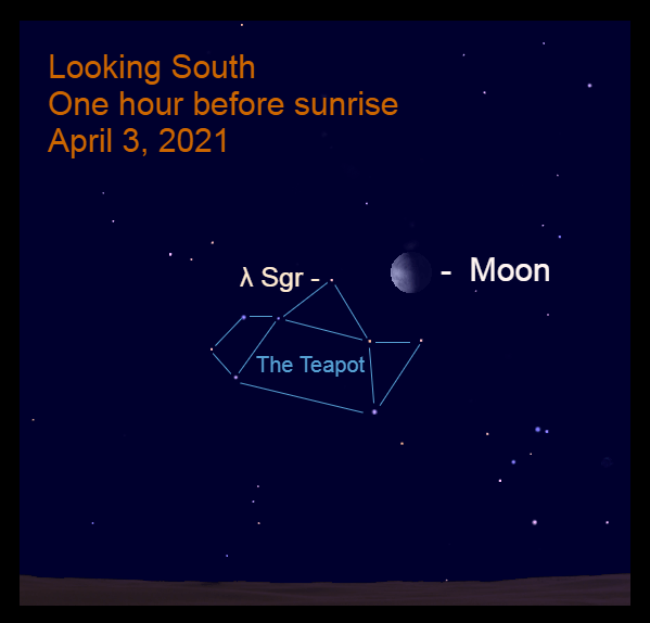 2021, April 3: One hour before sunrise, the gibbous moon is 5.1° to the right of Kaus Borealis (λ Sgr).