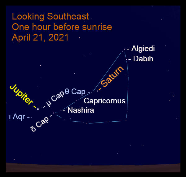 2021, April 21: Morning planets Jupiter and Saturn are low in the southeast before sunrise in front of the starry background of Capricornus.