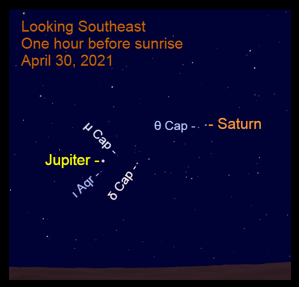 2021, April 30: Bright morning planets are in the southeastern sky before sunrise.